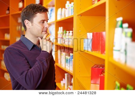 Man Shopping In Drugstore