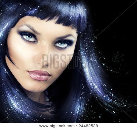Beauty Brunette Girl with Magic Hair