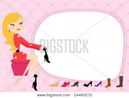 Hübsches Mädchen, die in einem Schuh-Shop einkaufen