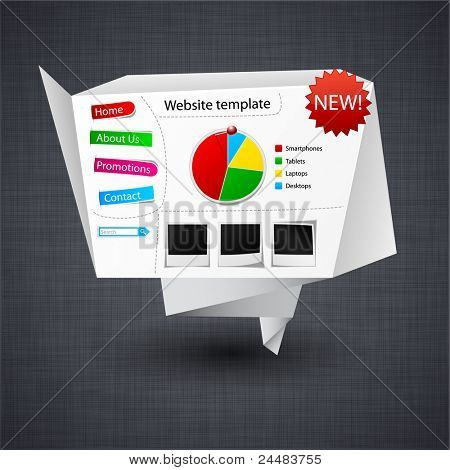 Ilustración del vector de la plantilla de sitio web de origami de papel con textura de lino.