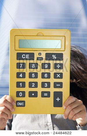 Yellow Calculator With Blank Screen