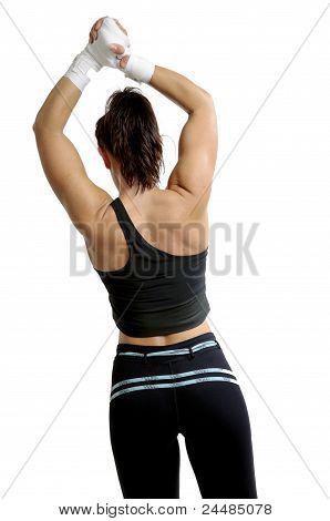 young female boxer on white background