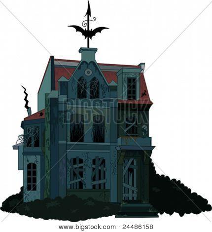 Ilustración de una casa fantasma embrujada espeluznante