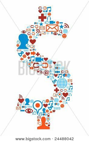 Social Media Icons Set In Dollar Symbol