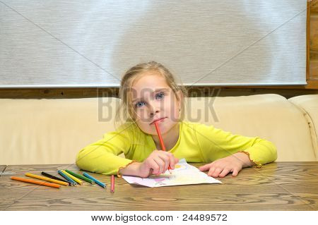 Girl Has Thought Of Drawing.