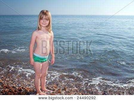 Beach Sea Child Boy Playing