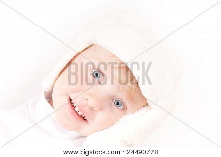 Little Girl In White Winter Hat