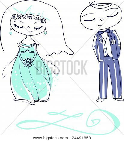 Vector Illustration of a Cute Wedding