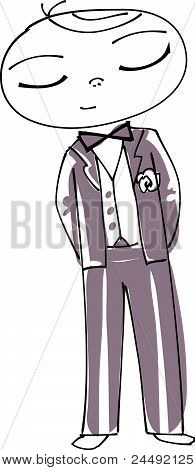 Vector Illustration of a Cute Groom