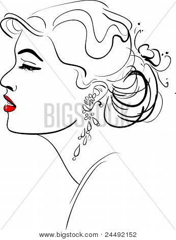 Vector illustration of Girl Profile