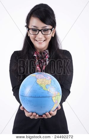 Smart Business Woman With A Globe