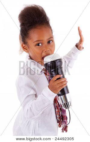 Cute Little African Asian Girl  Singing