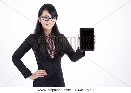 Businesswoman With A Digital Tablet Isolated On White