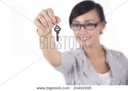 Smart Businesswoman With A Key
