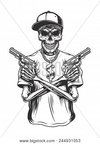 Skeleton Gangster With Guns In