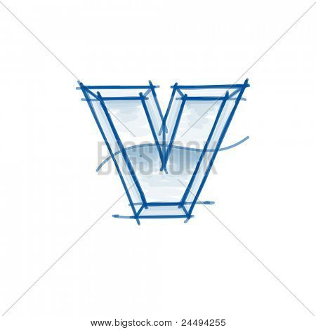 Blueprint font sketch - letter v - marker drawing. Bitmap copy my vector