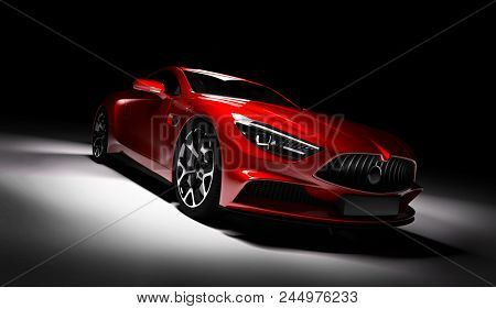 Modern red sports car in
