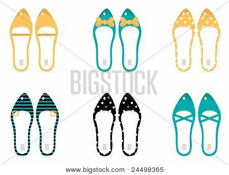 Retro Shoes Collection Isolated On White ( Yellow & Blue )..
