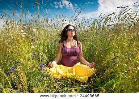 Pregnant Woman On Green Grass Field Under Blue Sky