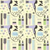 Salon Beauty Care Seamless Pattern. Colored Hand Drawn Set Of Hair Styling. Hair Dryer, Hairbrushes, poster
