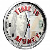 High Resolution 3d Illustration Of Clock Face With Text Time Is Money Isolated On Pure White Backgro poster