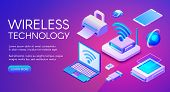 Wireless Technology Isometric Vector Illustration Of Wi-fi, Bluetooth Or Nfc Connection And Digital  poster
