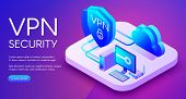 Vpn Security Technology Isometric Vector Illustration Of Digital Personal Data Protection Software.  poster