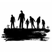 Halloween Poster, Silhouette Of Zombies Walking At Graveyard, Vector Illustration poster