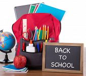 Backpack With An Assortment Of School Supplies With Back To School Written On A Chalkboard On A Wood poster