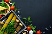 Food Frame Italian Food Background . Healthy Food Concept Or Ingredients For Cooking Pesto Sauce On  poster