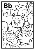 Coloring Book For Children, Colorless Alphabet. Letter B, Bee poster