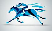 Horse Race. Equestrian Sport. Silhouette Of Racing Horse With Jockey In Blue Colors On Isolated Back poster