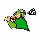 Mascot Icon Illustration Of Bust Of A Green Archer Or Robin Hood With Lacrosse Stick  Viewed From Si poster