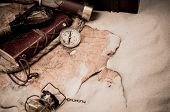 Columbus Day. Pirates And Treasure With Worldmap And Discovery Equipment. poster