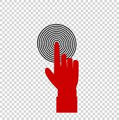 Vector Illustration Of Index Finger Pointing To The Target, Business Concept, Red Hand With Index Fi poster