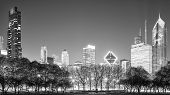 Black And White Chicago Panorama At Night, Usa. poster