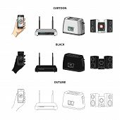 Home Appliances And Equipment Cartoon, Black, Outline Icons In Set Collection For Design.modern Hous poster
