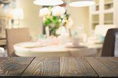 Blurred Background. Modern Defocused Pastel Kitchen Or Cafe With Tabletop And Space For You. poster