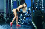 Young Sexy Woman Doing Exercises With Dumbbell In Gym. Classic Bodybuilding. Muscular Blonde Fitness poster