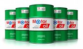 3d Render Illustration Of The Group Of Green Metal Drum Canisters Or Barrel Containers With Car Moto poster