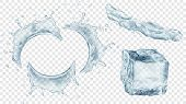 Set Of Translucent Semicircular Water Splashes With Drops, Jet Of Liquid And Ice Cube In Gray Colors poster