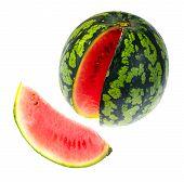 Ripe Watermelon Mini Isolated On White Background. Studio Photo poster