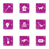 Outside Help Icons Set. Grunge Set Of 9 Outside Help Vector Icons For Web Isolated On White Backgrou poster