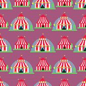 Circus Tent Marquee With Stripes And Flags Carnival Entertainment Amusement Seamless Pattern Backgro poster