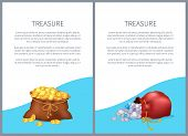 Treasure Posters With Text Samples And Given Info, Headlines And Images Of Treasures In Bags, Coins  poster