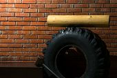 Set Of Equipment For Sports On Endurance And Fitness By The Background Of A Red Brick Wall poster