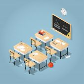 Detailed Vector Isometric Illustration Of  Classroom. School Desks With Books, Papers And Stationery poster