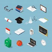 Isometric College Student Vector Set: Graduation Cap, Laptop, Stack Of Books, Glasses, Piece Of Pape poster