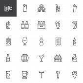 Bar Beverages Outline Icons Set. Linear Style Symbols Collection, Line Signs Pack. Vector Graphics.  poster