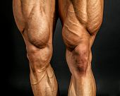 Detail Of Male Bodybuilder Front Leg Muscles On Black Background. Quadriceps And Tibialis Anterior. poster